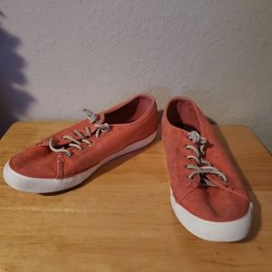 SPERRY CORAL CANVAS SLIP ON BOAT SHOES SIZE 10M